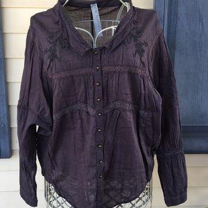 Free People Purple Button Down Long Sleeve Shirt